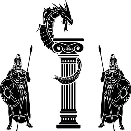 arte greca: guerrieri e draghi. stencil. illustrazione vettoriale