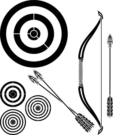 bow arrow: stencil of bow, arrows and targets  vector illustration