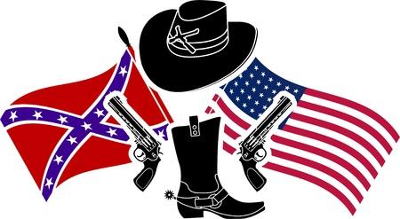 cowboy background: symbol of american civil war  stencil  vector illustration  Illustration