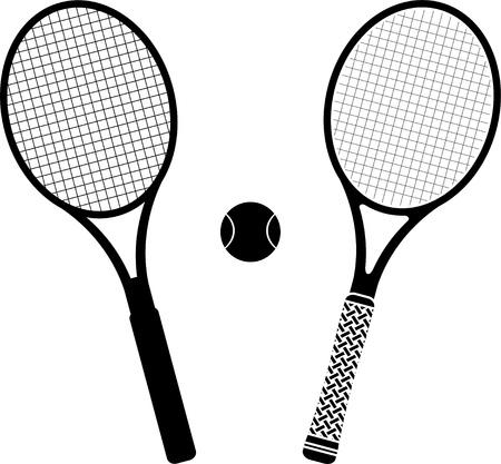 raqueta de tenis: raquetas de tenis plantilla y silueta ilustración vectorial