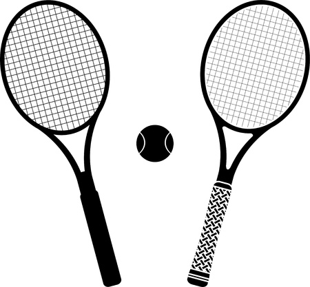 tennis rackets  stencil and silhouette  vector illustration