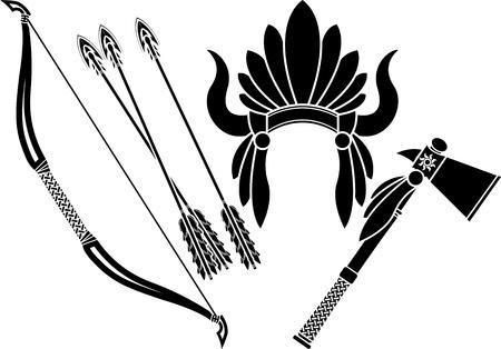 arco y flecha: indio americano tocado, tomahawk y plantilla arco