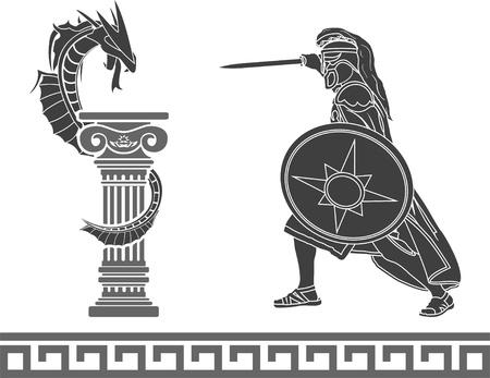 ancient hero and dragon  stencil Stock Vector - 17076177