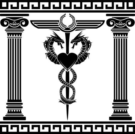 poison symbol: fantasy medical symbol  stencil  illustration