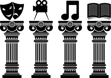 pedestals of arts  stencils  illustration Vector