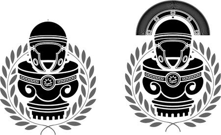 grecian: pedestals of roman helmets  stencils  second variant  illustration