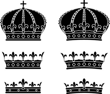 Set of crowns  stencils  illustration Vector