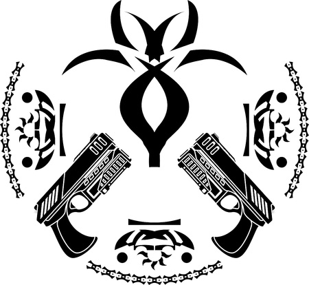 futuristic pistol: abstract symbol and pistols. stencil.  illustration  Illustration
