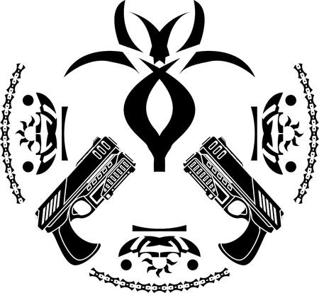 abstract symbol and pistols. stencil.  illustration  Иллюстрация
