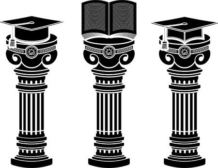 literature: pedestals of education. stencils.  illustration
