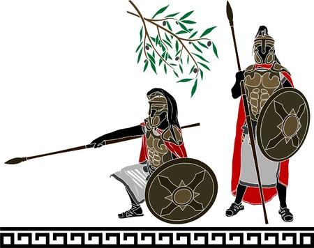 ancient hellenic warrs  second variant  vector illustration  Stock Vector - 17731778