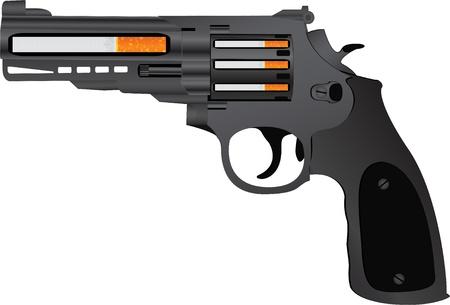 gun silhouette: cigarettes pistol  vector illustration