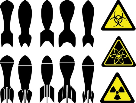 nuclear bomb: set of bombs  Illustration