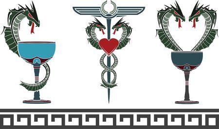 set of fantasy medical and pharmacy symbols  vector illustration  Stock Vector - 17731776