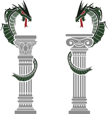 columnas romanas: dragones y columnas ilustración vectorial plantillas