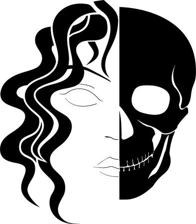 evil girl: face of ghost  vector illustration Illustration