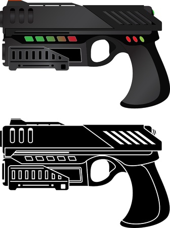 gunfire: futuristic pistol  vector illustration