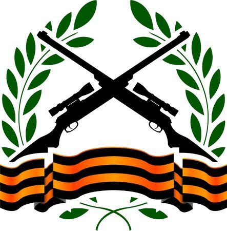 gun silhouette: georgievsy ribbon and sniper rifles  vector illustration