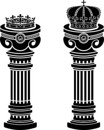 greek column: pedestals of crowns  stencils  vector illustration