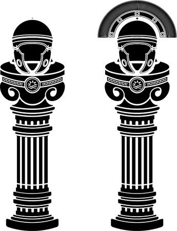 cascos romanos: pedestales de ilustraci�n vectorial casco romano plantillas