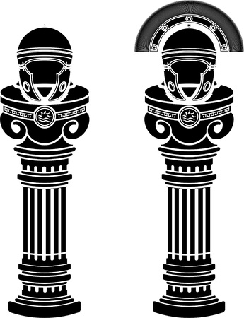 greek column: pedestals of roman helmets  stencils  vector illustration