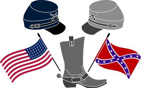 civil: american civil war  stencil  third variant  vector illustration