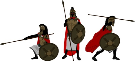 ancient greek: ancient warriors  second variant  vector illustration
