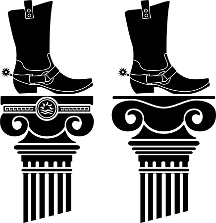 grecian: columns and boots with spurs  stencils  vector illustration  Illustration