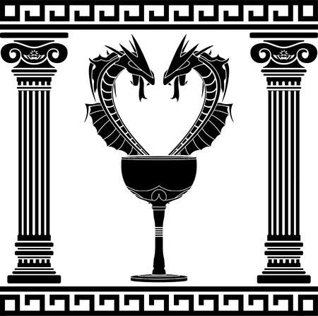 poison symbol: fantasy pharmacy symbol  second variant  stencil  vector illustration