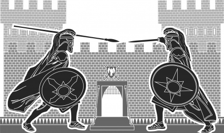 fortification: fight of two knights  vector illustration  Illustration