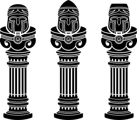 corinthian: pedestals of medieval helmets  stencils  vector illustration  Illustration