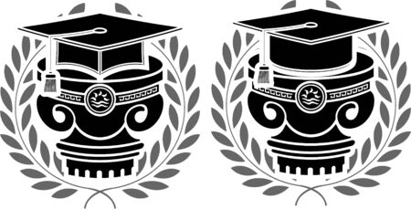 pedestals of square academic caps  vector illustration  Vector