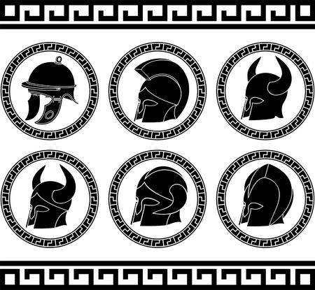cascos romanos: conjunto de ilustración vectorial cascos antiguos
