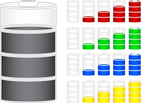 capacity: set of batteries  stencils  vector illustration