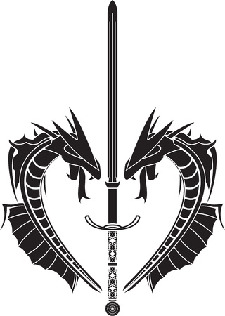 warrior tribal tattoo: stencil of dragons and medieval sword  vector illustration