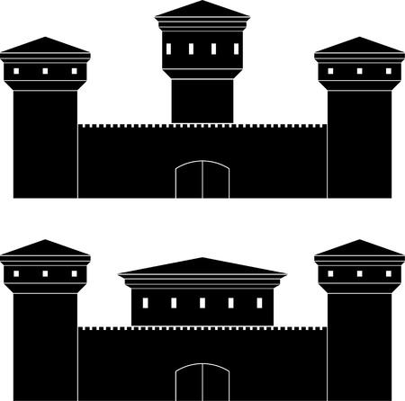 two castles  stencils  vector illustration