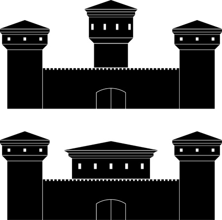 fortification: two castles  stencils  vector illustration