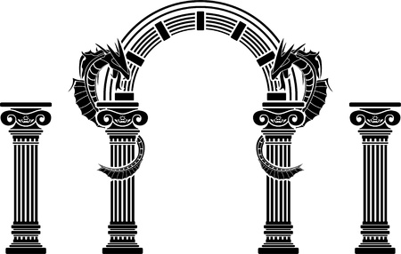fantasy arch and columns  seventh variant  vector illustration