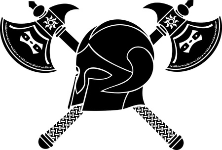 norse: fantasy helmet with axes  stencil  third variant  vector illustration