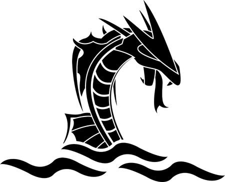 tatouage dragon: illustration vectorielle monstre marin