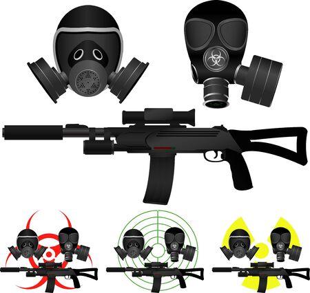 gas mask danger sign: sniper rifle and gas masks  vector illustration Illustration