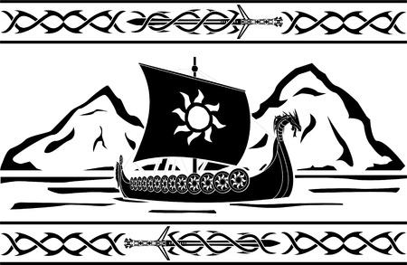 vikingo: plantilla de ilustración vectorial barco vikingo