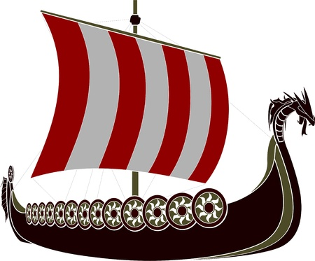 vikingo: plantilla barco vikingo ilustración vectorial