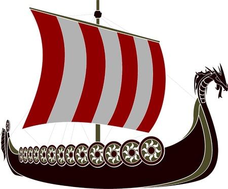 illustrazione vettoriale di vichingo nave stencil