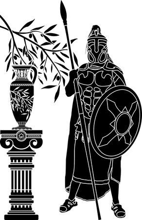 vasi greci: l'uomo antico ellenico. stencil. illustrazione vettoriale