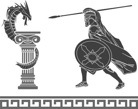 spartano: Antico eroe e drago. stencil. seconda variante. illustrazione vettoriale