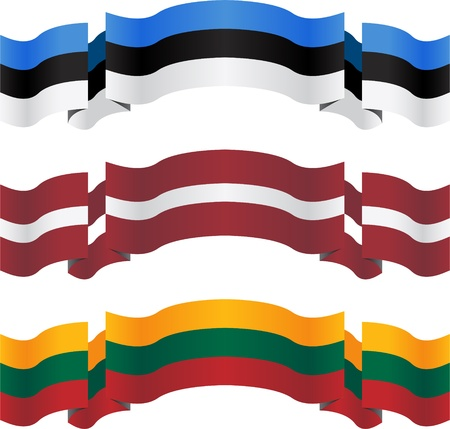 estonia: banners and flags of baltic states. vector illustration