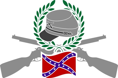 civil war: Glory of Confederacy. stencil. vector illustration