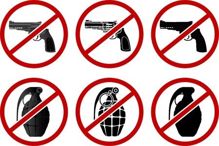 no pistols and grenades. vector illustration  Stock Vector - 19578586