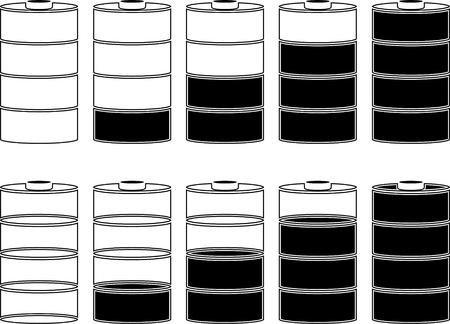 capacity: stencils of batteries. vector illustration